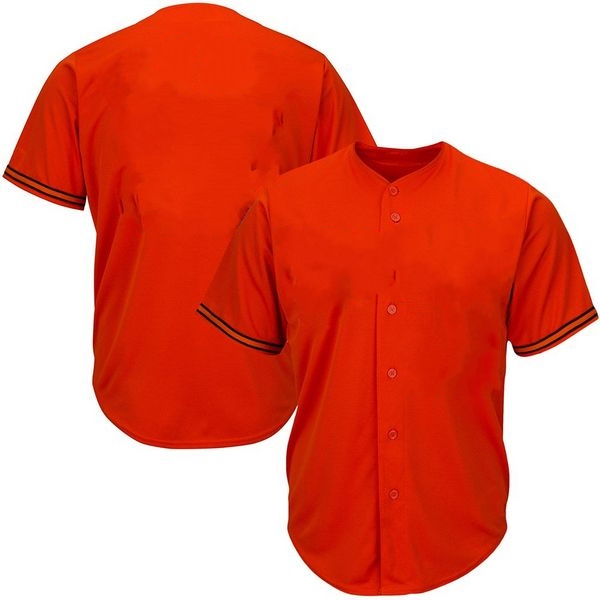 Youth & Adult Orange Button Front Baseball Jersey