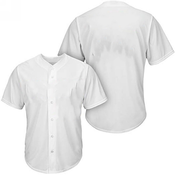 Youth & Adult White Button Front Baseball Jersey